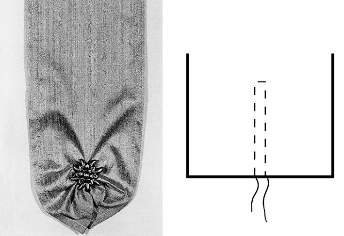 Das Foto zeigt ein rund auslaufendes Band, genäht und die technische Zeichnung.