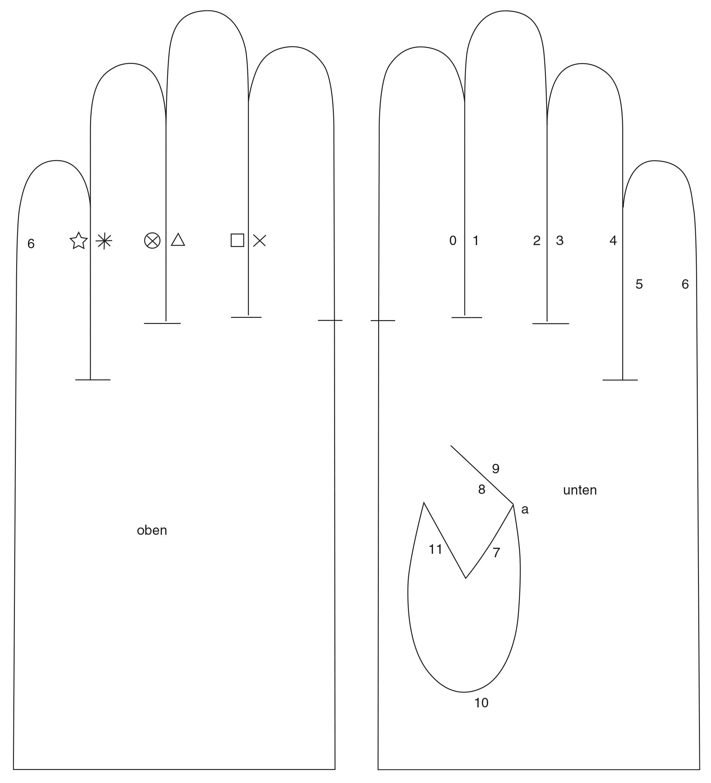 Abgebildet ist das fertige Schnittteile eines Handschuhs.