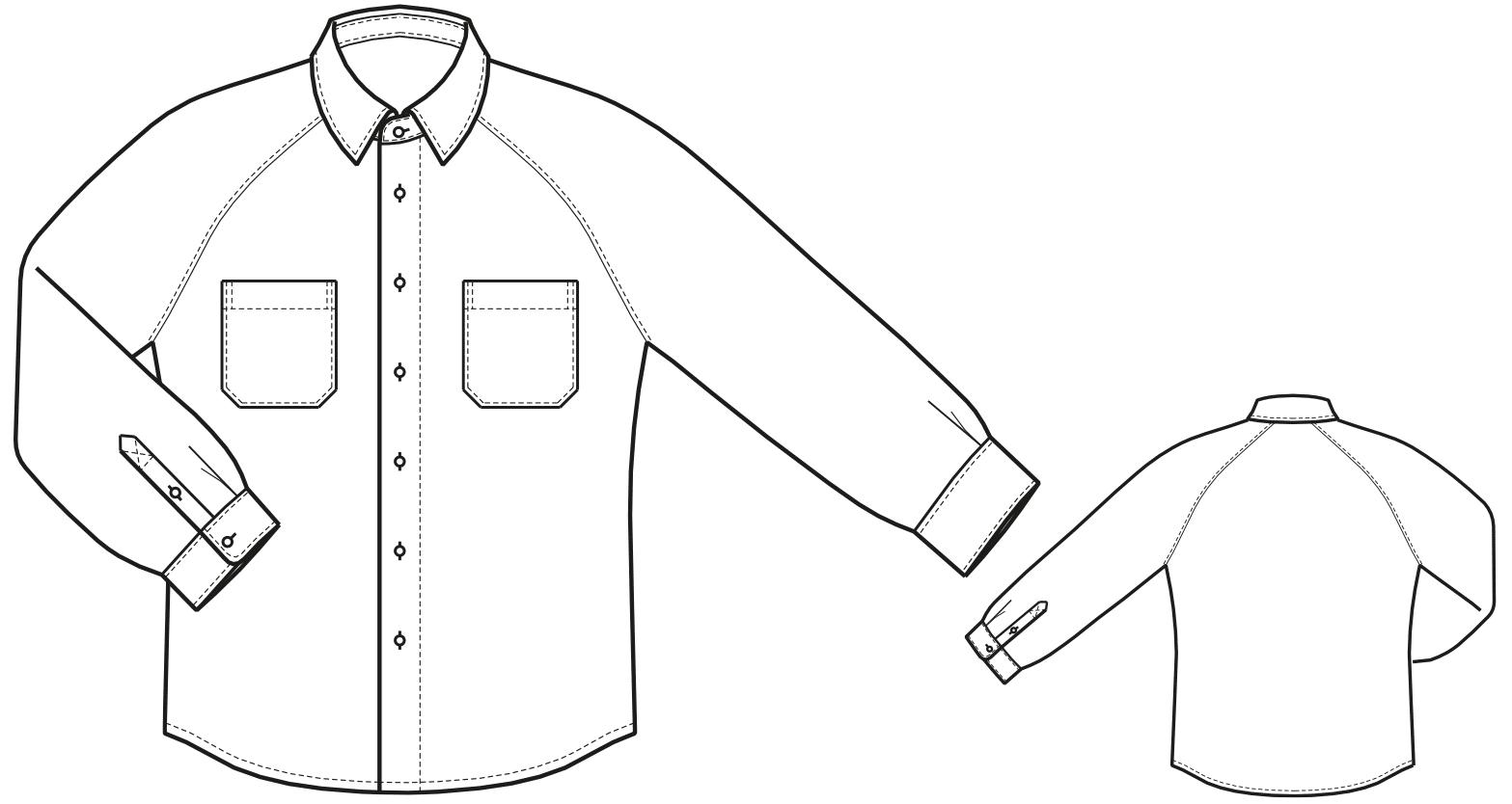 Die Abbildung zeigt die technische Zeichnung eines Hemdes.