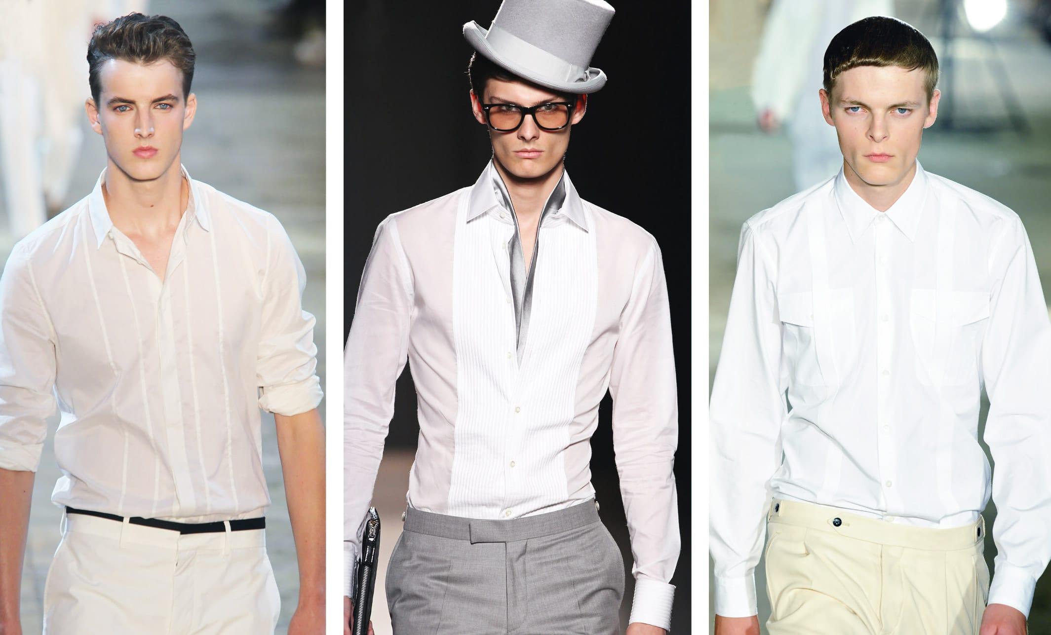 Zeigt drei Männerhemden in weiß