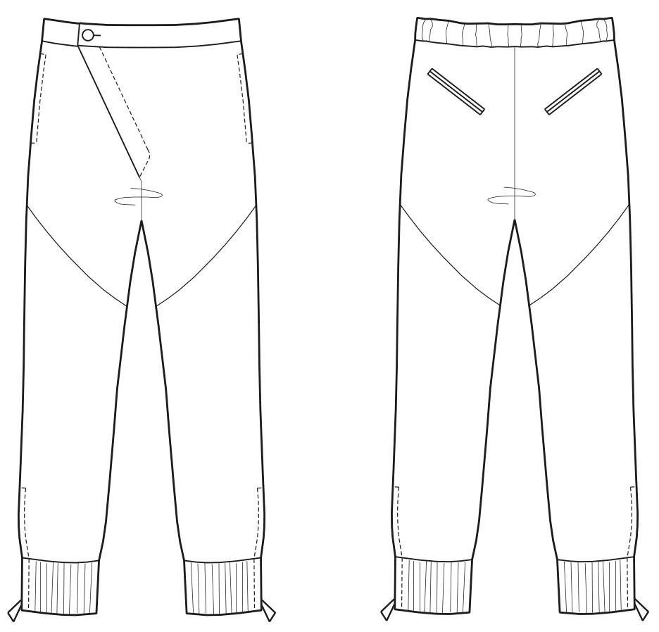 Abgebildet ist die Vorder- und Rückansicht der technischen Zeichnung von einer Hose mit asymmetrischem Eingriff