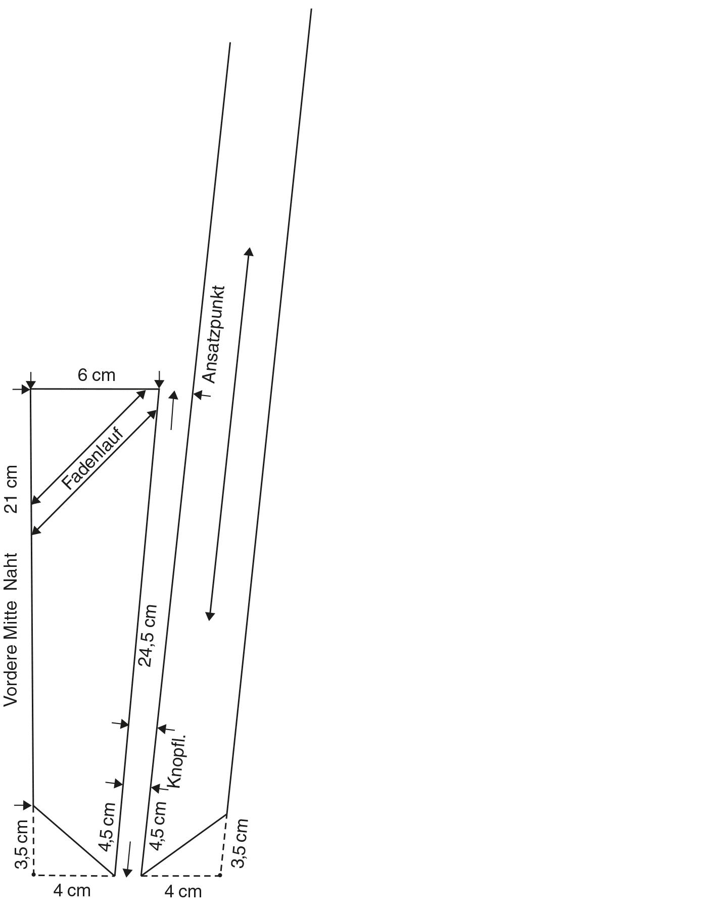 Abgebildet ist die Schnitt-Technik eines Hosenträgers in Westernoptik.