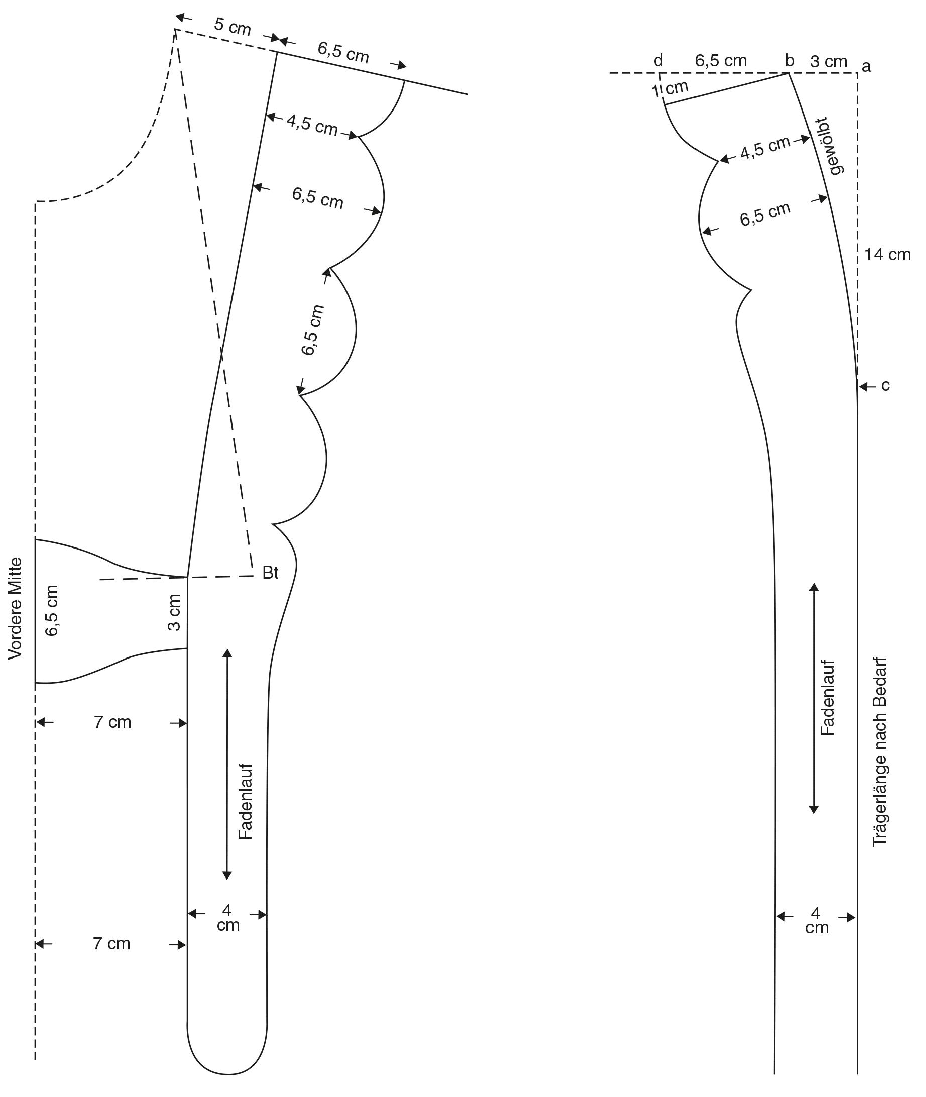 Abgebildet ist die Schnitt-Technik eines Hosenträgers mit Bogenkante.