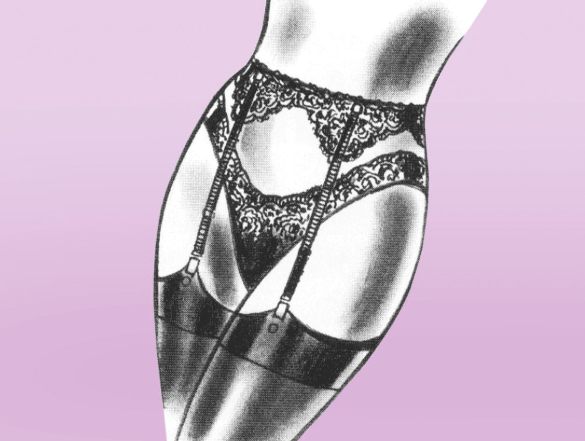 Zu sehen ist die Modellzeichnung von Dessous. Zu sehen sind Unterose mit Strapsen.