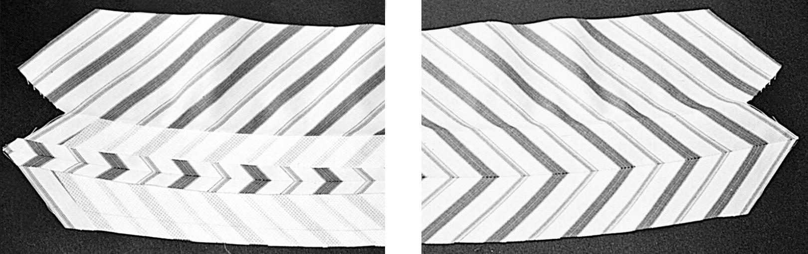 Abgebildet ist ein in Form geschnittener Stehkragen aus Musterstoff.