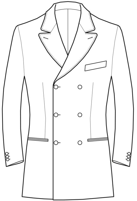 Die Abbildungt zeigt eine technische Zeichnung, die als Vorlage für die Schnittkonstruktion dient. Hier zu sehen ein Zweireiher mit breitem Reverskragen.