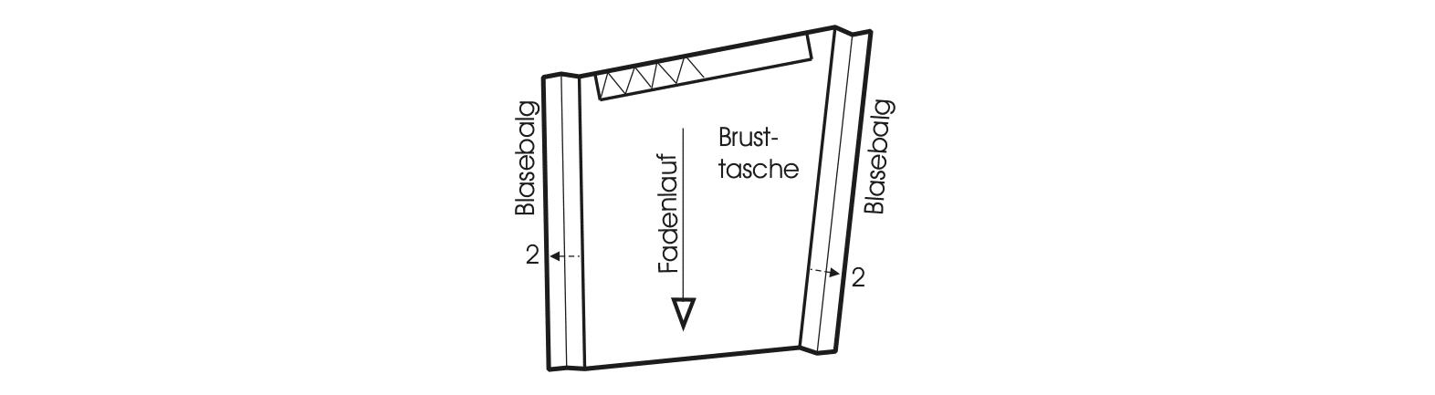 Die Abbildung zeigt die Schnittkonstruktion eines Kragens für eine Jacke mit Reißverschlüssen.