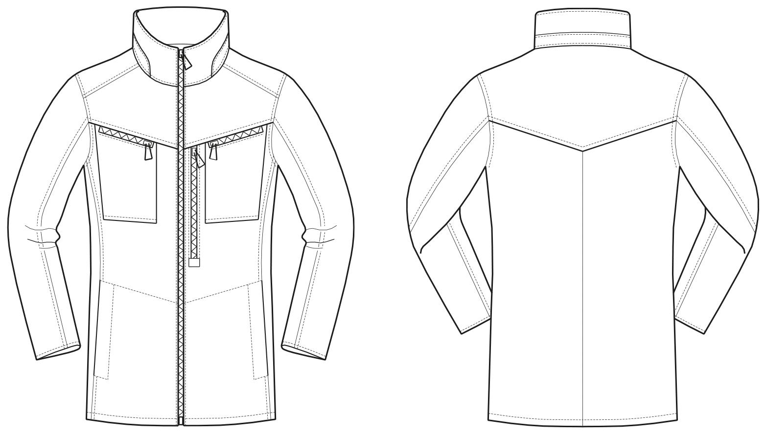 Das Foto zeigt die Vorder-und Rückansicht einer technischen Zeichnung von einer Jacke mit Reißverschlüssen. Sie dient als Vorlage für die Schnittkonstruktion.