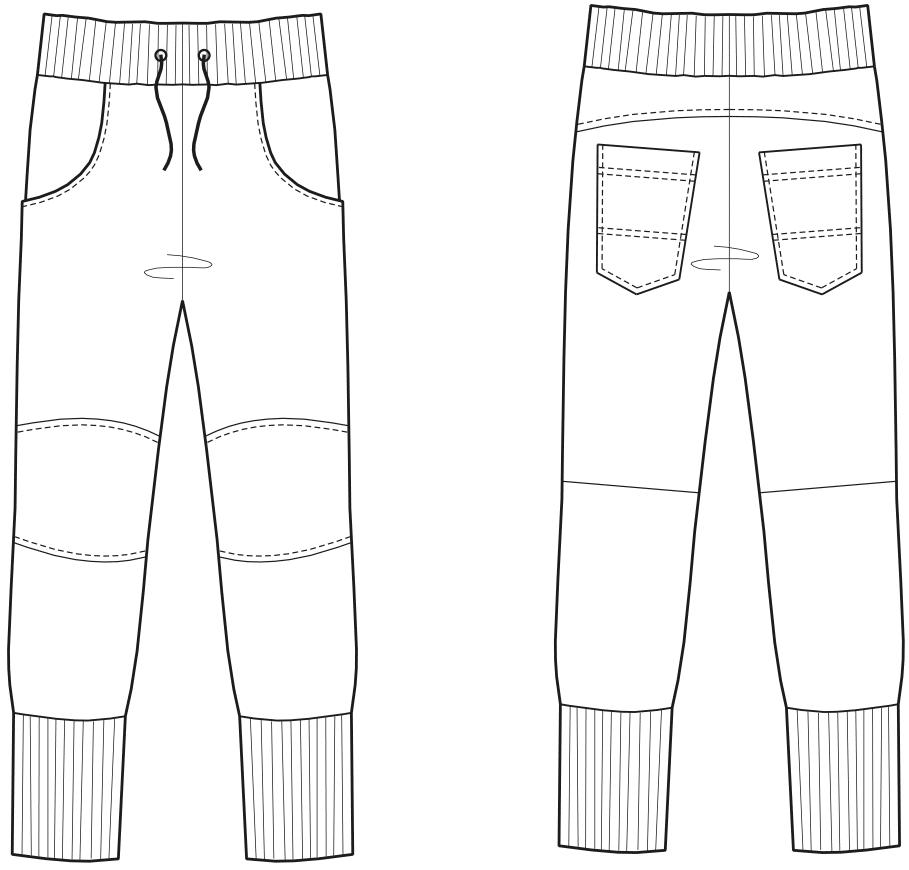 Abgebildet ist die Vorder- und Rückansicht der technischen Zeichnung von einer Jogger mit breiten Bündchen.