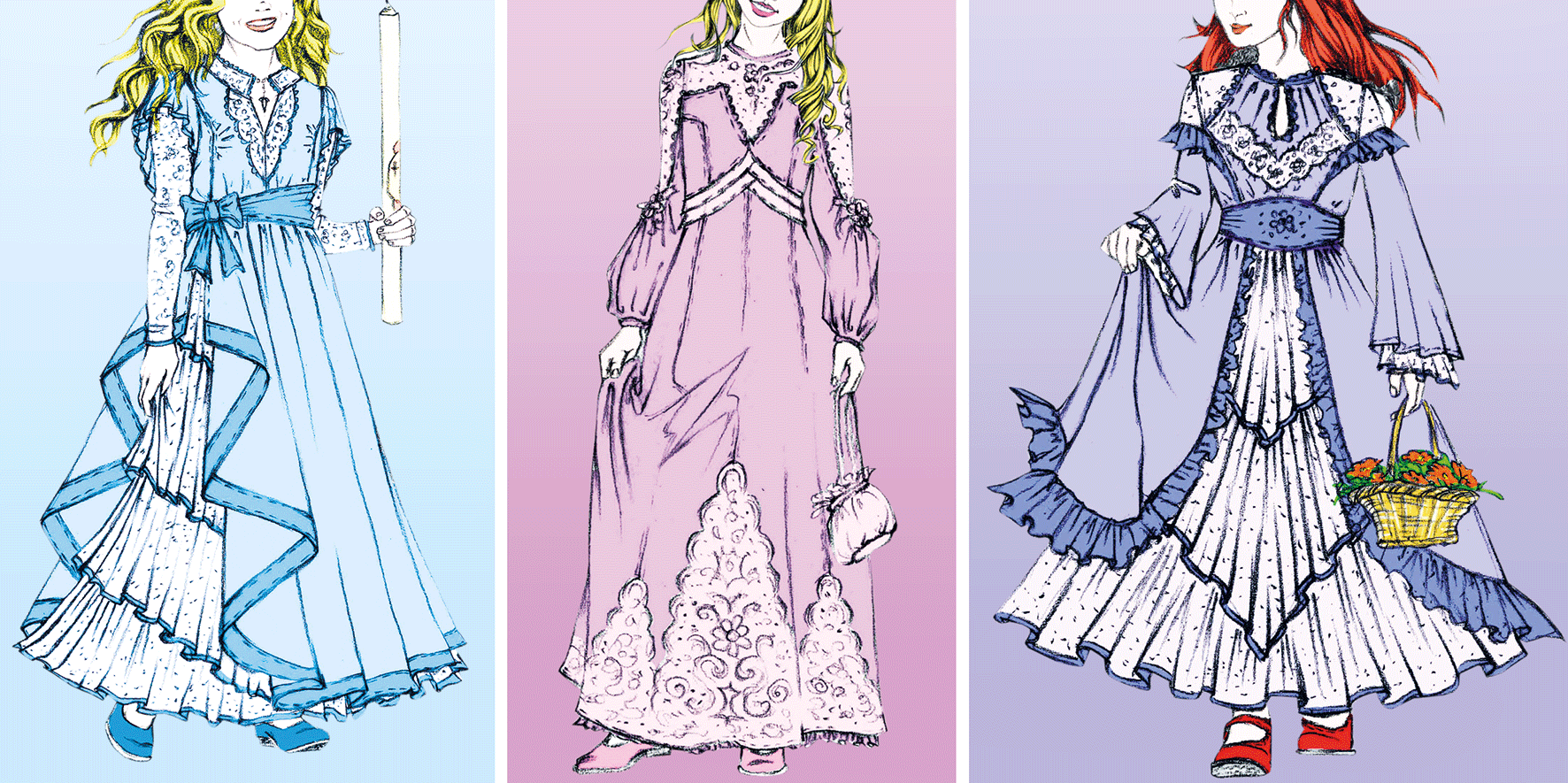 Drei verschiedene Prinzessinenkleider für kleine Mädchen
