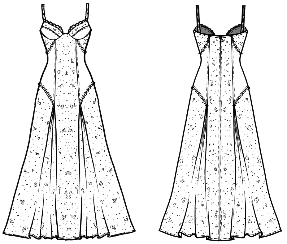 Das Foto zeigt die technische Zeichnung eines Kleides, was als Negligle oder Abendkeit getragen werden kann.