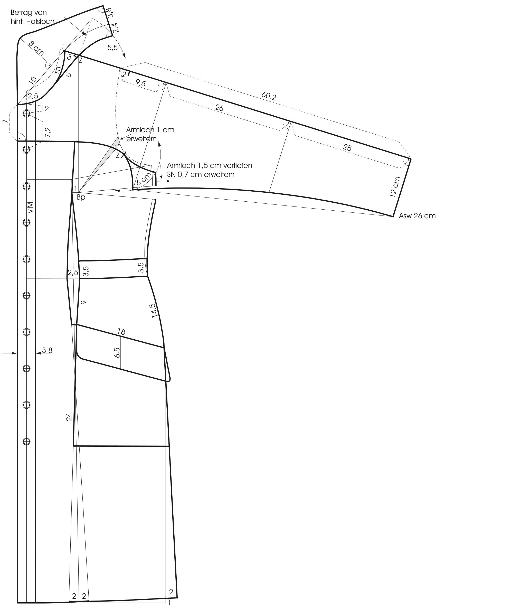 Schnittkonstruktion eines Passenraglan