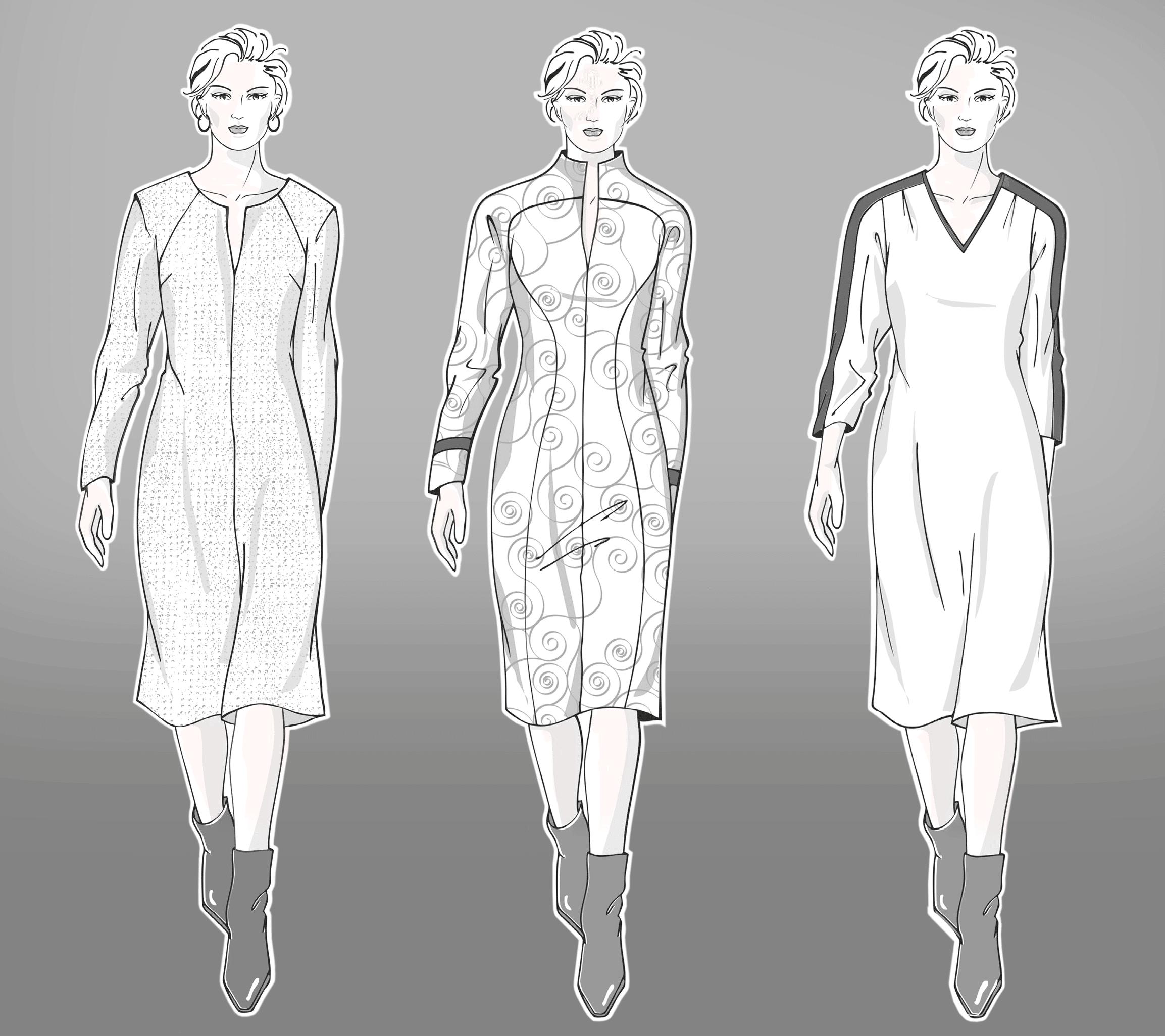 Technische Zeichnungen von Modellen für Frauen mit Große Größe.