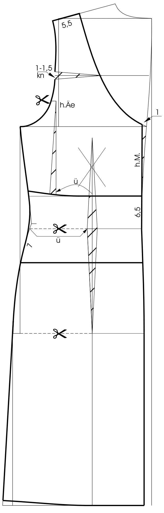 Die Zeichnung zeigt die Schnittkonstruktion eines Kleides mit Abnäherverlegung.