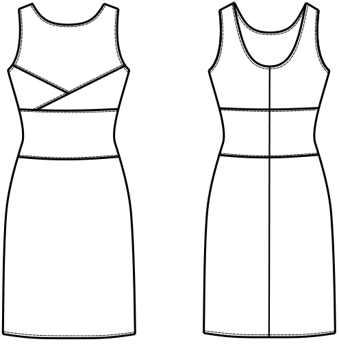 Die Abbildung zeigt die technische Zeichnung von einem Kleid mit Abnäherverlegungen.
