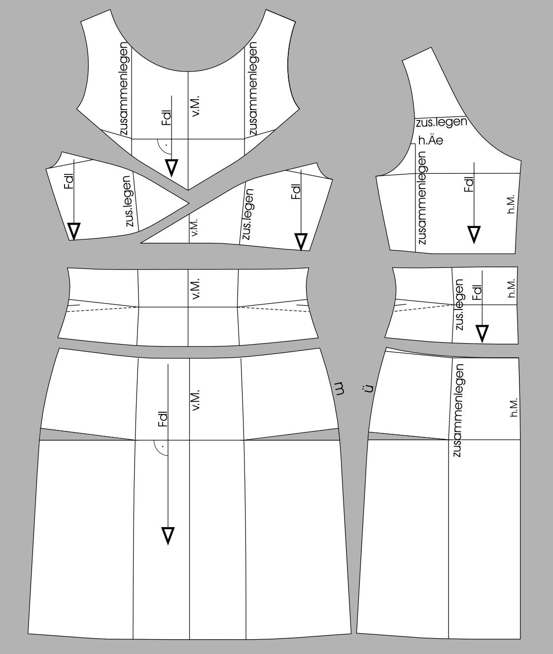 Die Abbildung zeigt die fertigen Schnittteile eines Kleides mit Abäherverlegung.