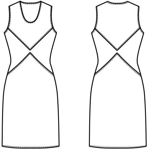 Die Abbildung zeigt die technische Zeichnung von einem Kleid mit Abnäherverlegungen