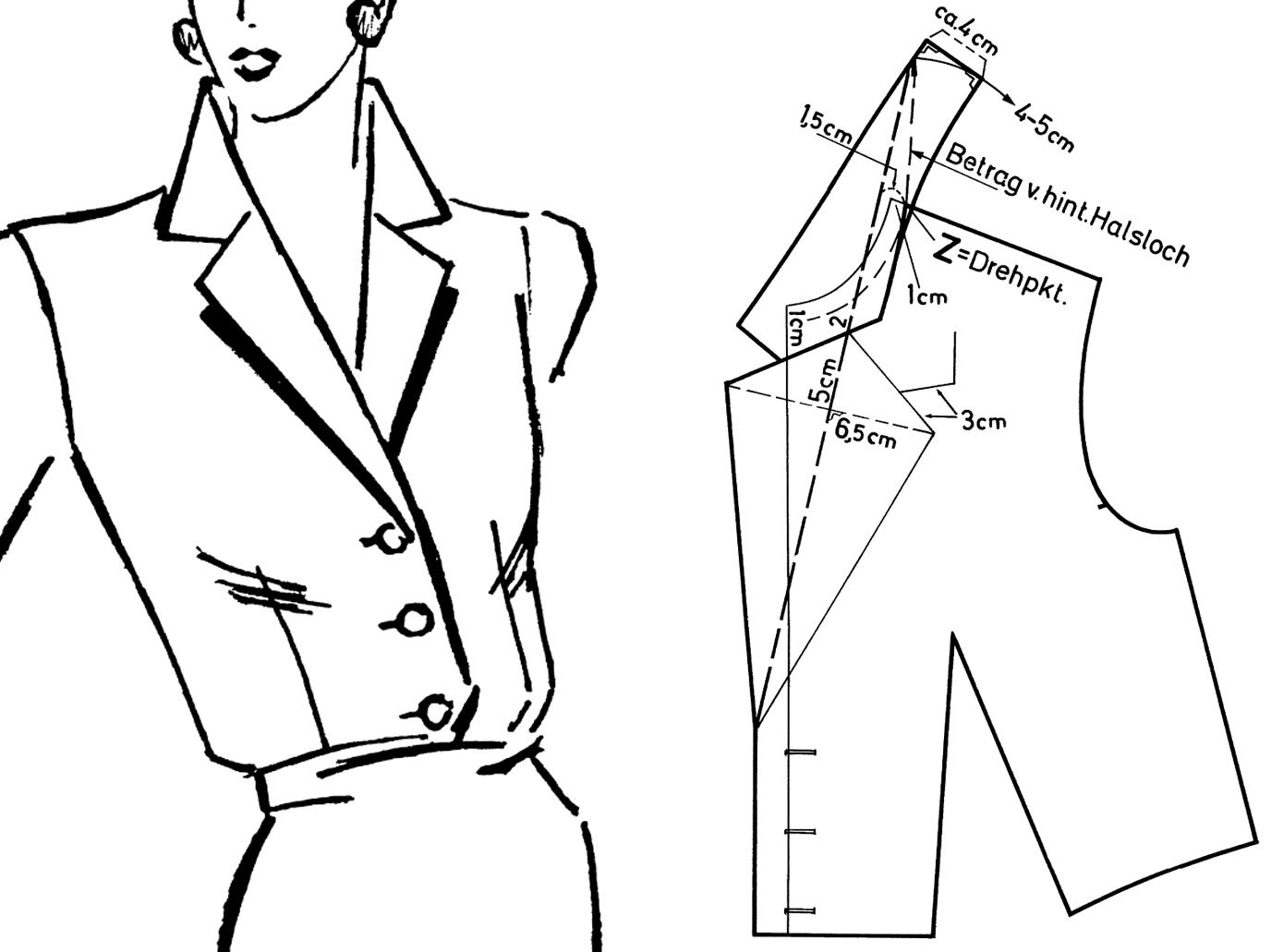Abgebildet ist die Zeichnung eines kombinierten Revers- und Stehkragens inkluisve Schnittkonstruktion.