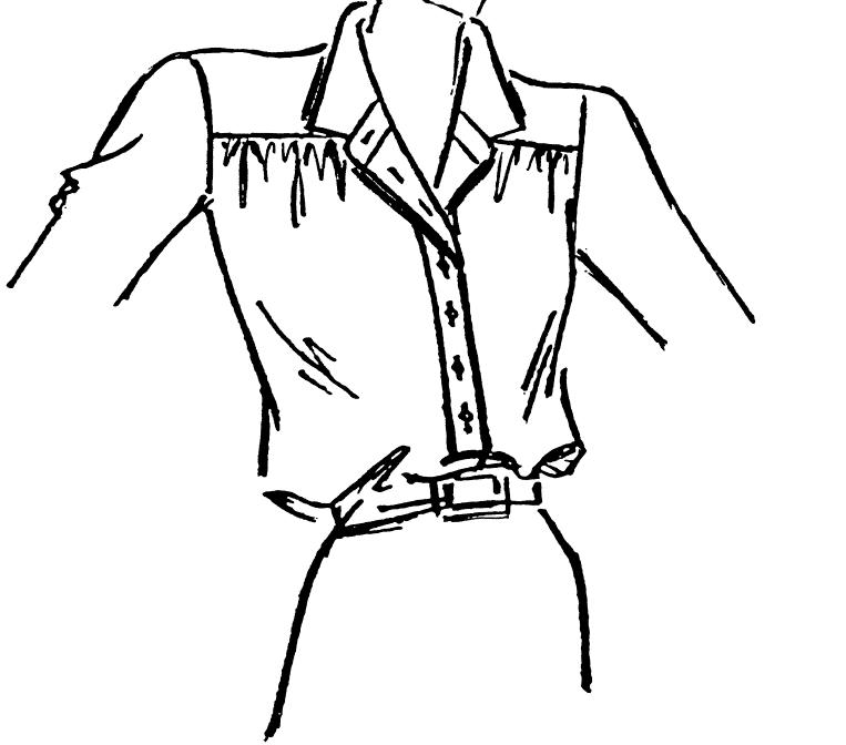 Die Abbildung zeigt eine Zeichnung eines Kragens, sie dient als Vorlage für die Schnitttechnik