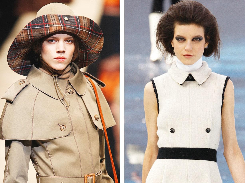 Zeigt Models auf dem Catwalk die Kleidung mit einem Uniform Kragen tragen.