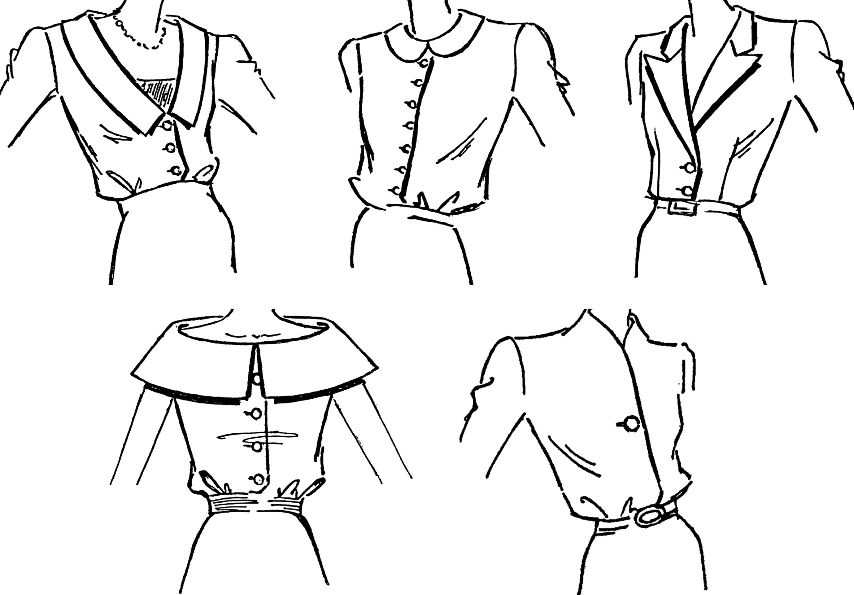 Abgebildet sind die Zeichnungen der Kragenformen für den DOB Bereich.