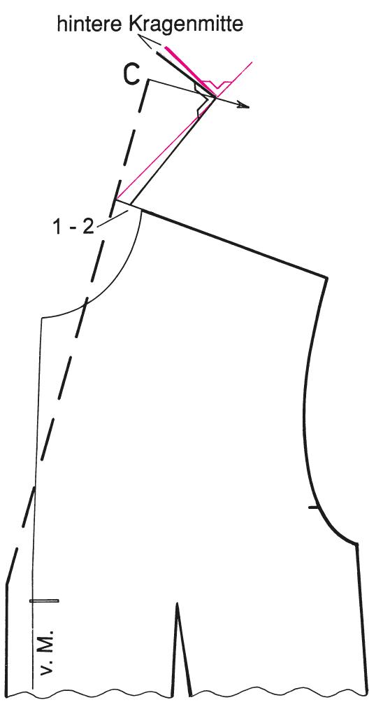 Abgebildet ist die Schnitt-Technik eines kurzen Reverskragens.