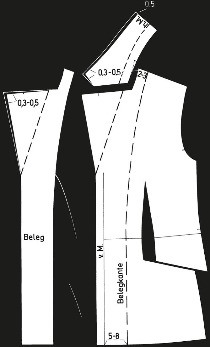 Abgebildet sind die fertigen Schnittteile eines kurzen Reverskragens.