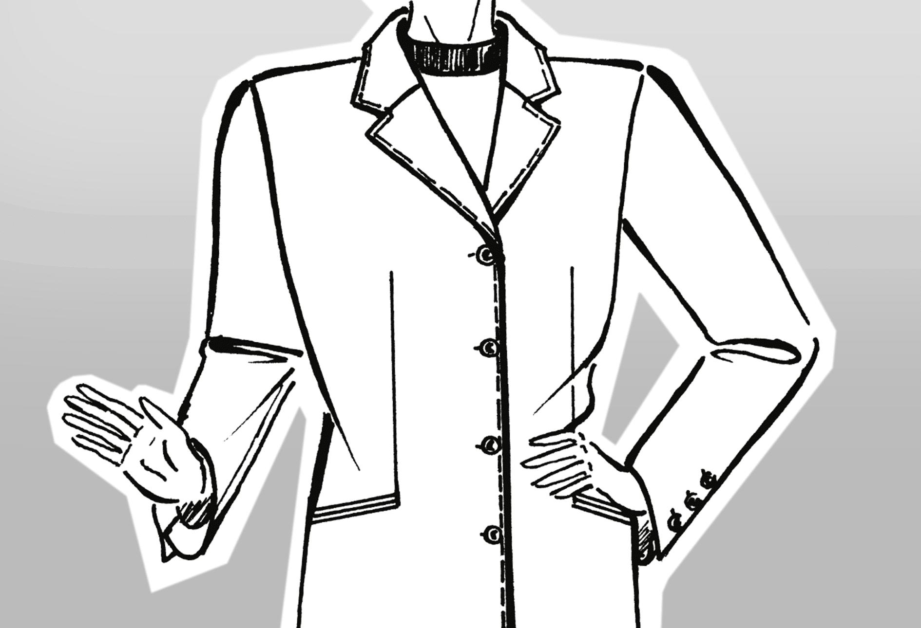 Zu sehen ist die technische Zeichnung eines Mantels mit kurzem Reverskragen.