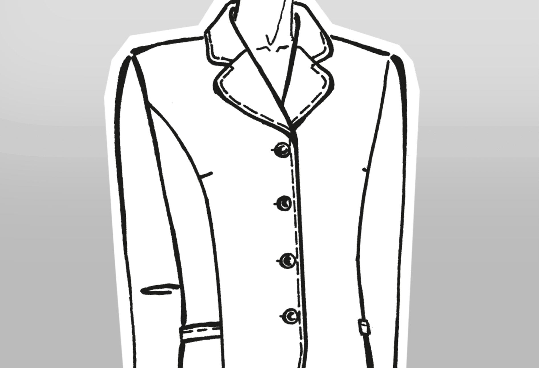 Zu sehen ist die technische Zeichnung eines Mantels mit kurzem breiten Reverskragen und Knopfleiste.