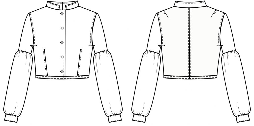 Diese technische Zeichnung zeigt die Vorder-und Rückansicht von einer Langarmbluse für Kinder Dieses Modell gibt es als Schnittmuster.