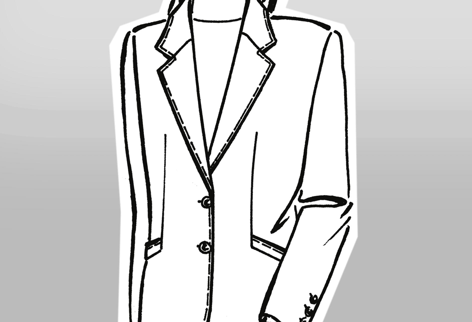 Zu sehen ist die technische Zeichnung eines Mantels mit langem Reverskragen.
