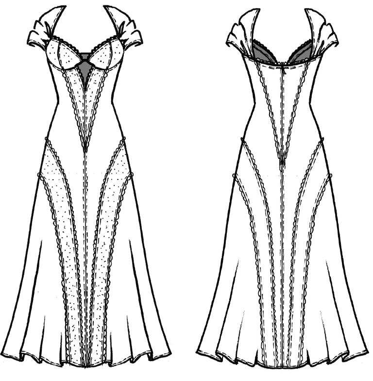 Das Foto zeigt die technische Zeichnung eines Kleides, was als Negligle oder Abendkeit getragen werden kann