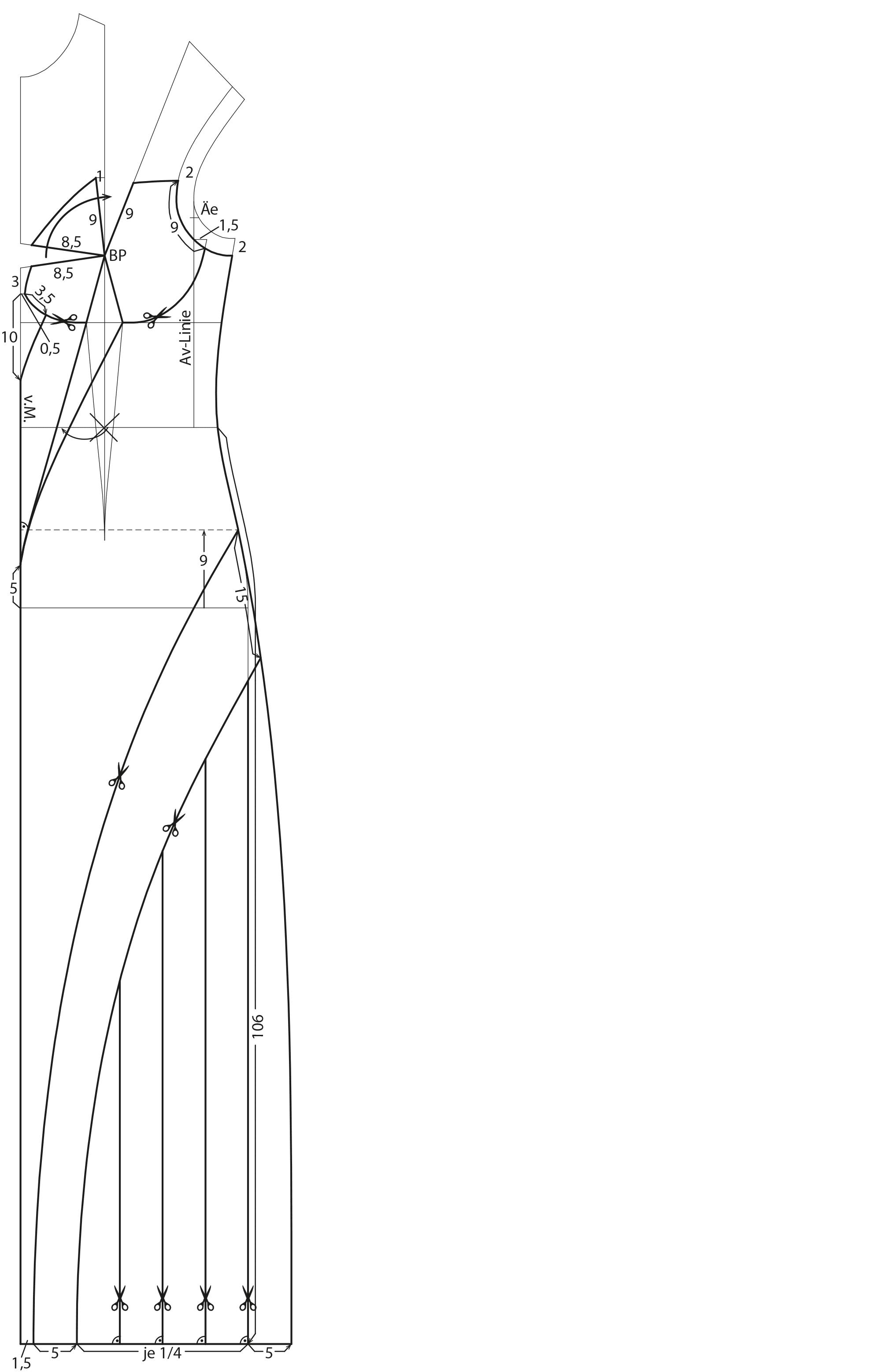 Die Abbilung zeigt die Schnittkonstruktion eines langen Kleides.