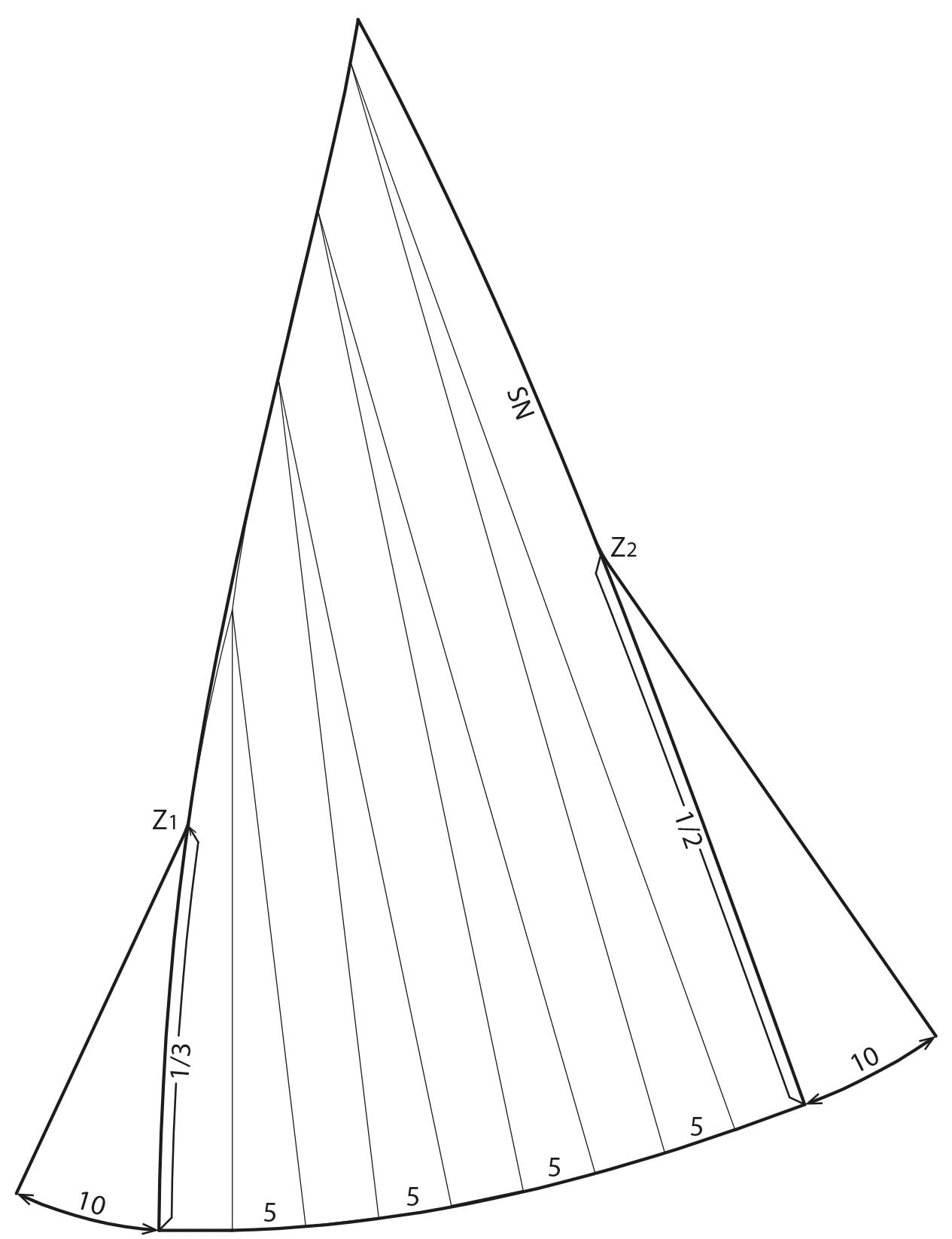 Die Abbilung zeigt die Schnittkonstruktion eines langen Kleides mit Cutouts.