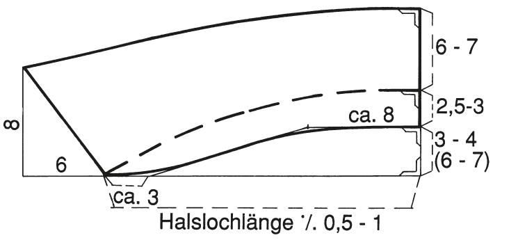 Abgebildet ist die Schnitt-Technik eines Liegekragens mit Winkelkonstruktion