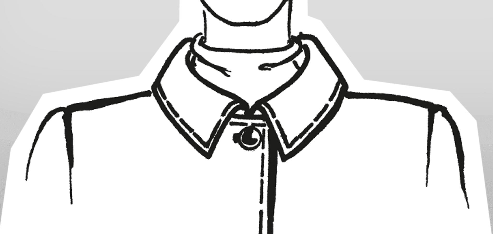 Zu sehen ist die technische Zeichnung eines Liegekragens mit eingesetztem Steg.