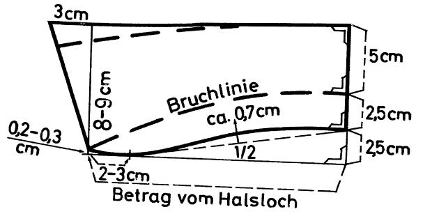 Die Schnittkonstruktion eines Liegekragens für den DOB Breich ist abgebildet.