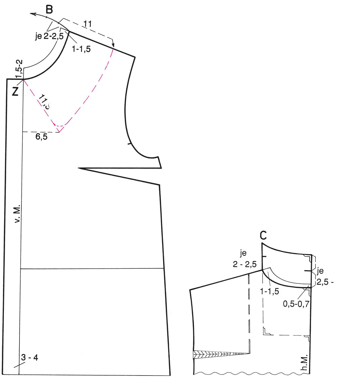 Abgebildet ist die Schnitt-Technik eines Liegekragens.