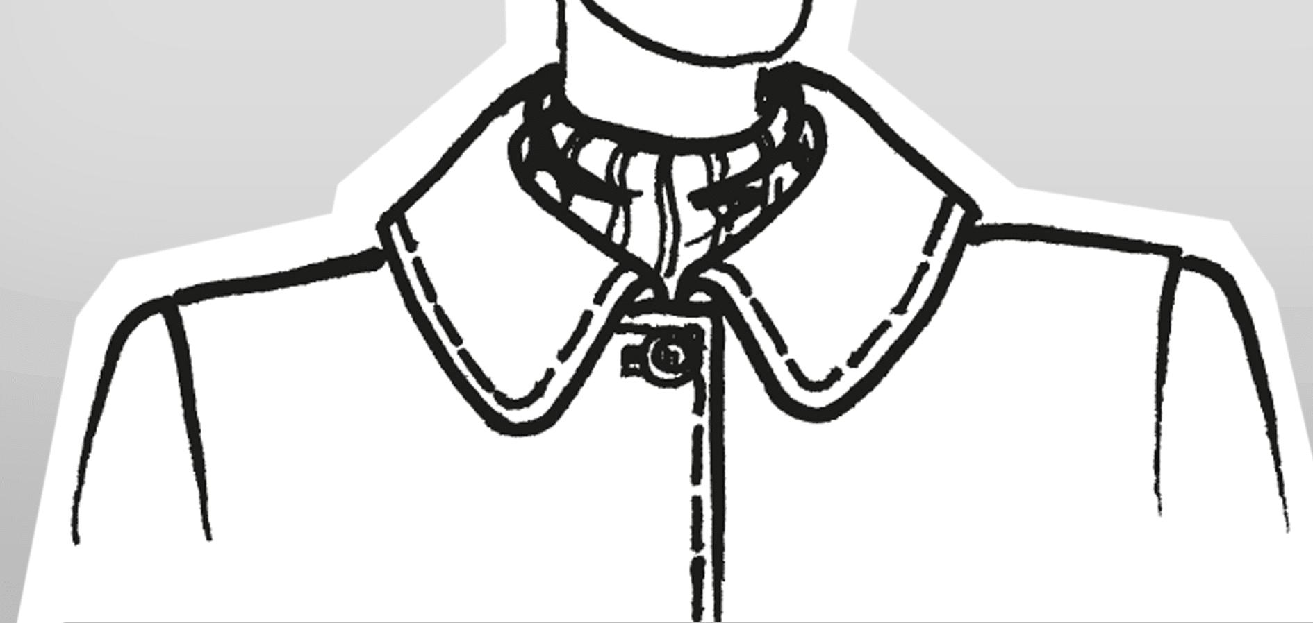 Zu sehen ist die technische Zeichnung eines Liegenkragens mit runden Ecken.