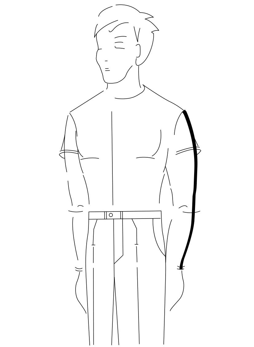 Auf dem Foto ist eine Zeichnung eines Mannes abgebildet. Zu sehen ist das Maßnehmen der Ärmellänge.