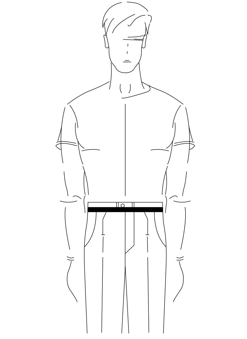 Auf dem Foto ist eine Zeichnung eines Mannes abgebildet. Zu sehen ist das Maßnehmen des Bundumfanges..