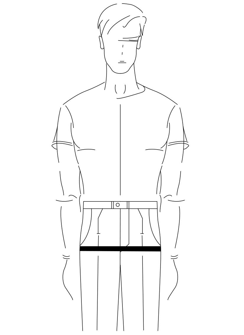 Auf dem Foto ist eine Zeichnung eines Mannes abgebildet. Zu sehen ist das Maßnehmen des Hüftumfanges.