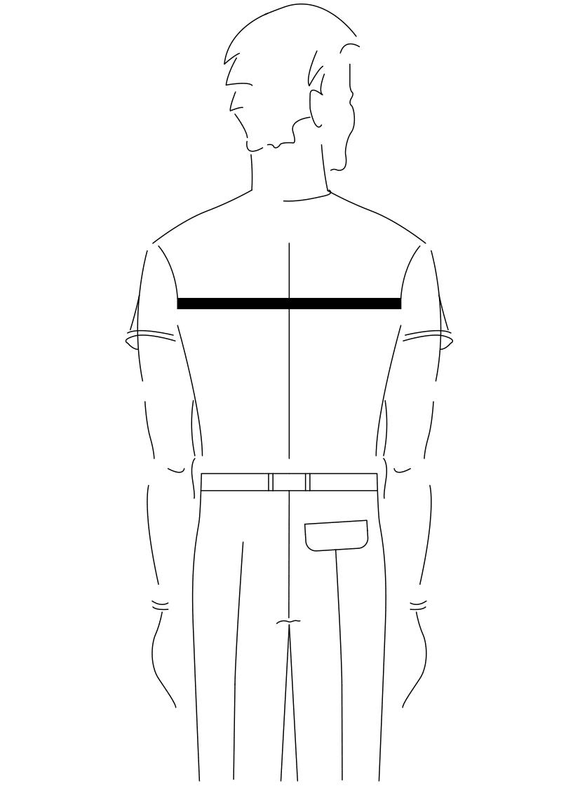 Auf dem Foto ist eine Zeichnung eines Mannes abgebildet. Zu sehen ist das Maßnehmen der Rückenbreite.