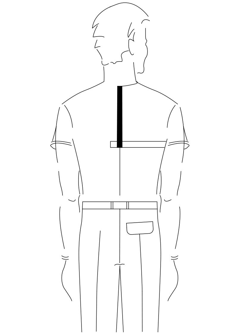 Auf dem Foto ist eine Zeichnung eines Mannes abgebildet. Zu sehen ist das Maßnehmen der Rückenhöhe.