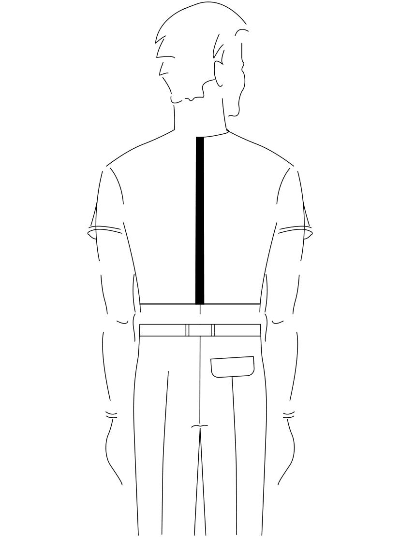 Auf dem Foto ist eine Zeichnung eines Mannes abgebildet. Zu sehen ist das Maßnehmen der Rückenlänge.