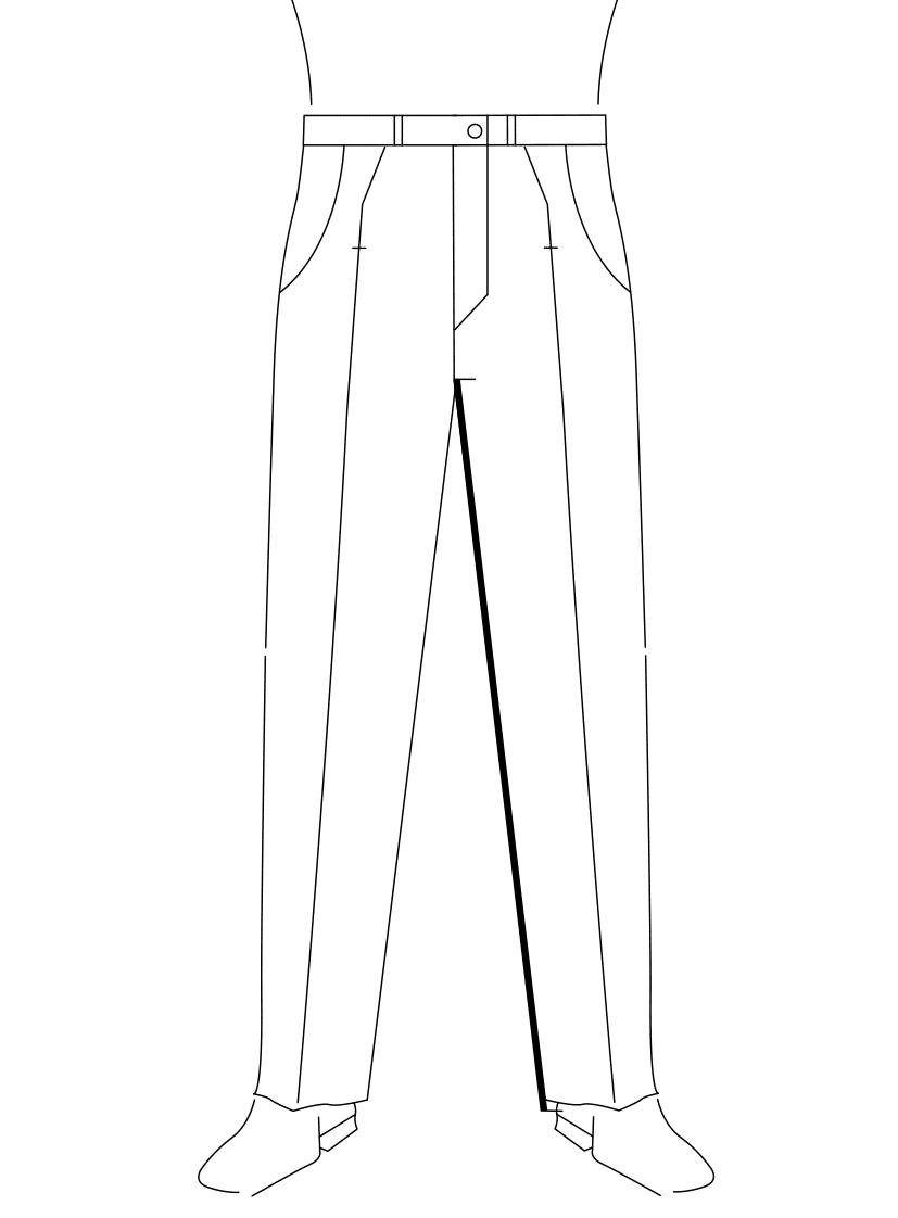 Auf dem Foto ist eine Zeichnung eines Mannes abgebildet. Zu sehen ist das Maßnehmen der Schrittlänge.
