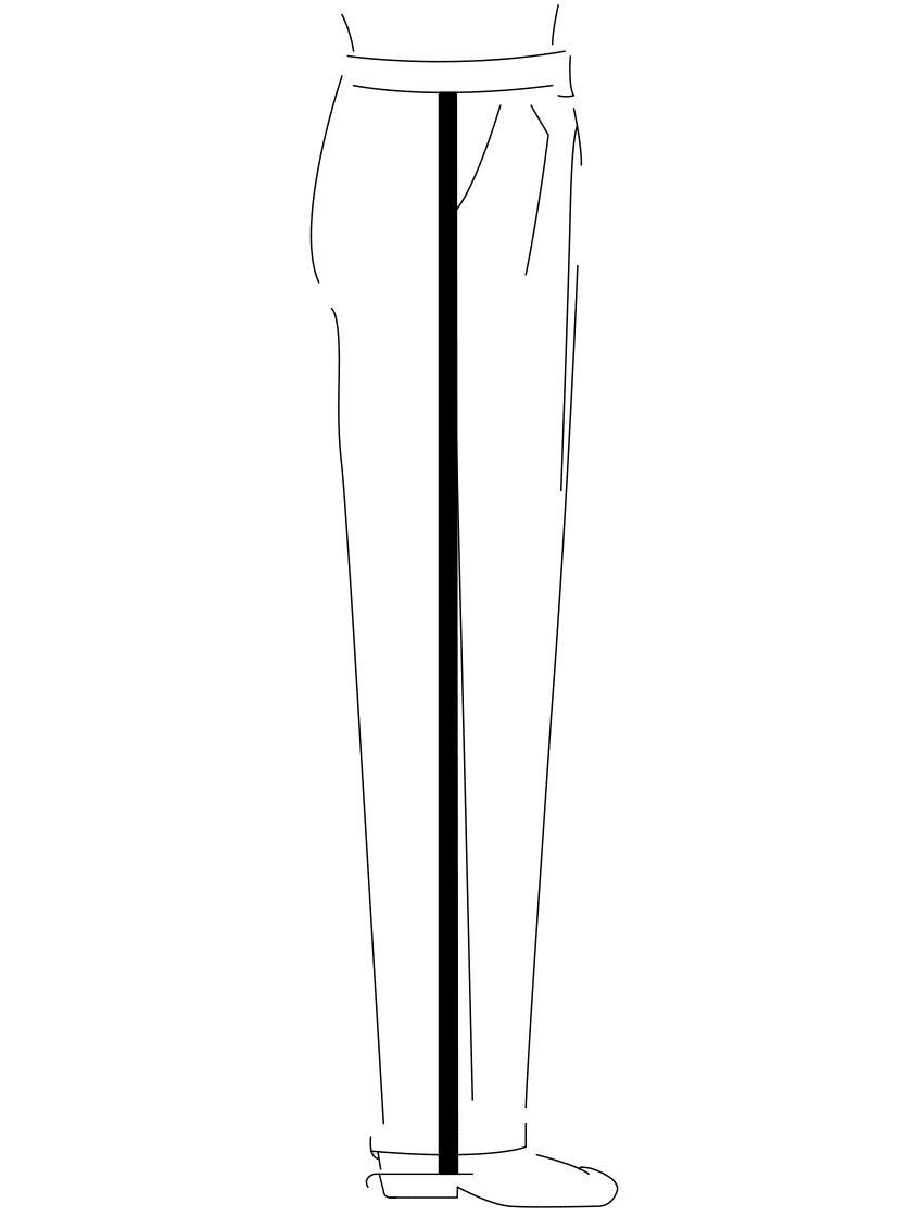 Auf dem Foto ist eine Zeichnung eines Mannes abgebildet. Zu sehen ist das Maßnehmen der Seitenlänge.