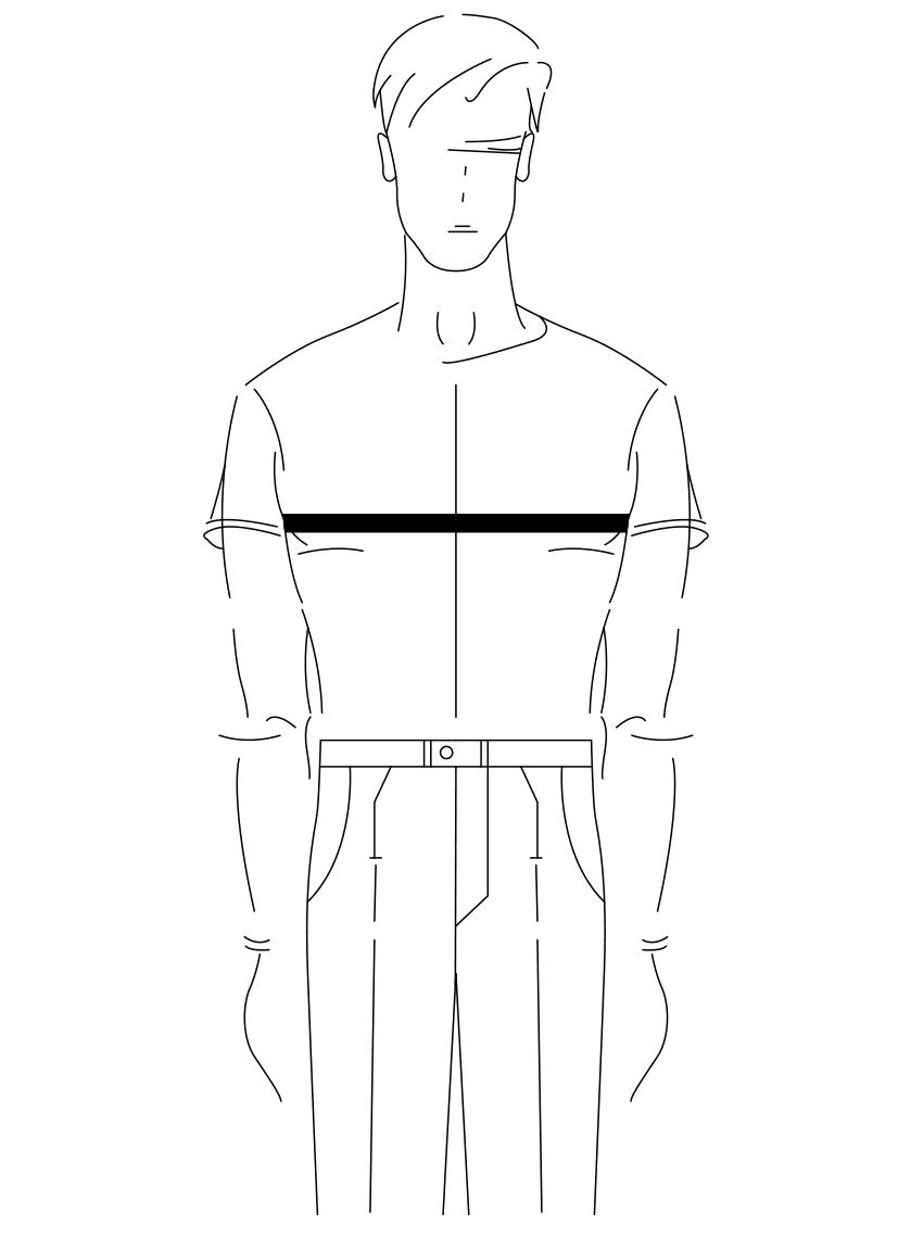 Auf dem Foto ist eine Zeichnung eines Mannes abgebildet. Zu sehen ist das Maßnehmen des Brustumfanges.