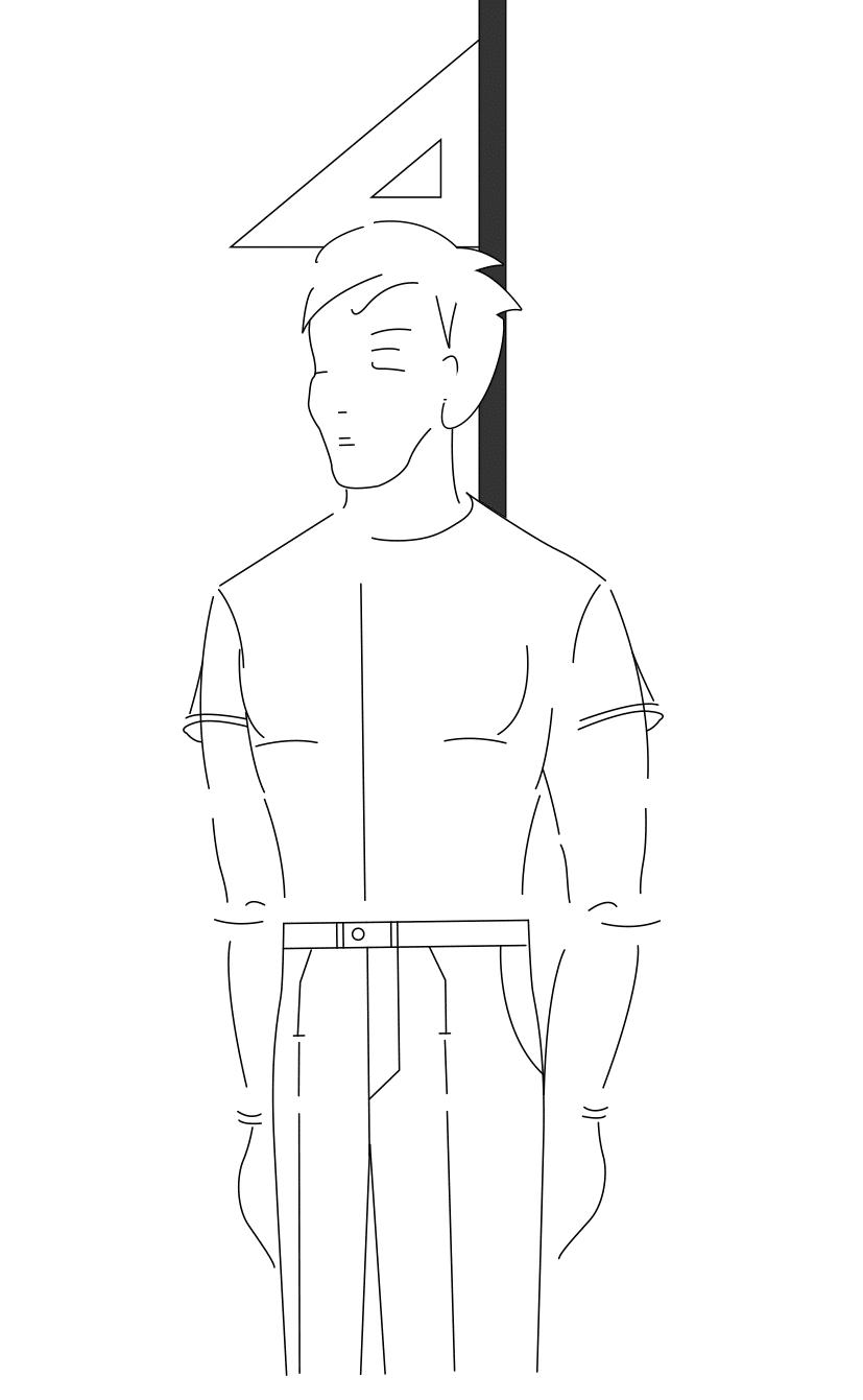 Auf dem Foto ist eine Zeichnung eines Mannes abgebildet. Zu sehen ist das Maßnehmen der Körperhöhe.