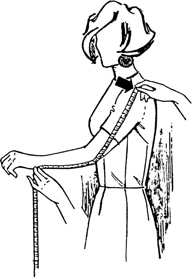 Eine DOB Zeichnung zeigt das Maßnehmen der Ärmellänge